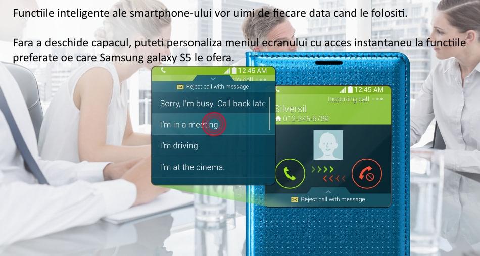 Husa S-View Flip Cover Punching Pattern pentru Samsung Galaxy S5 (G900) 1