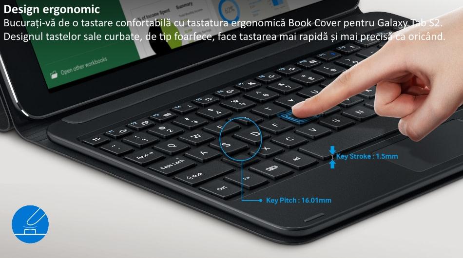 Husa Book Cover cu tastatura bluetooth pentru Samsung Galaxy Tab S2 9.7 inch, EJ-FT810UBEGWW Black 2
