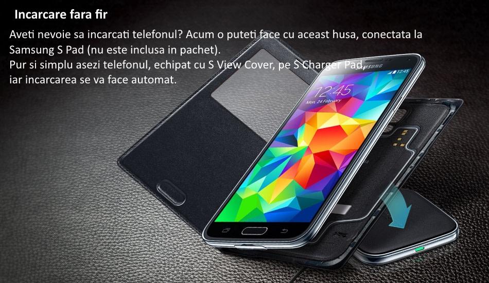 Husa Flip Cover S-View cu incarcare wireless pentru Samsung Galaxy S5 (G900).