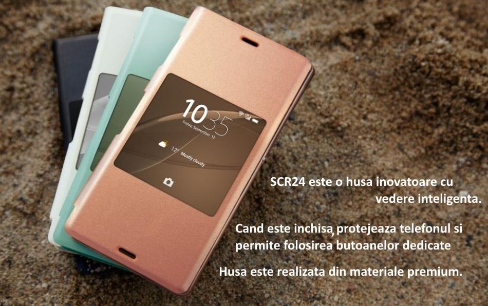 Husa Sony SCR24, tip Style Book piele eco pentru Sony Xperia Z3, Negru