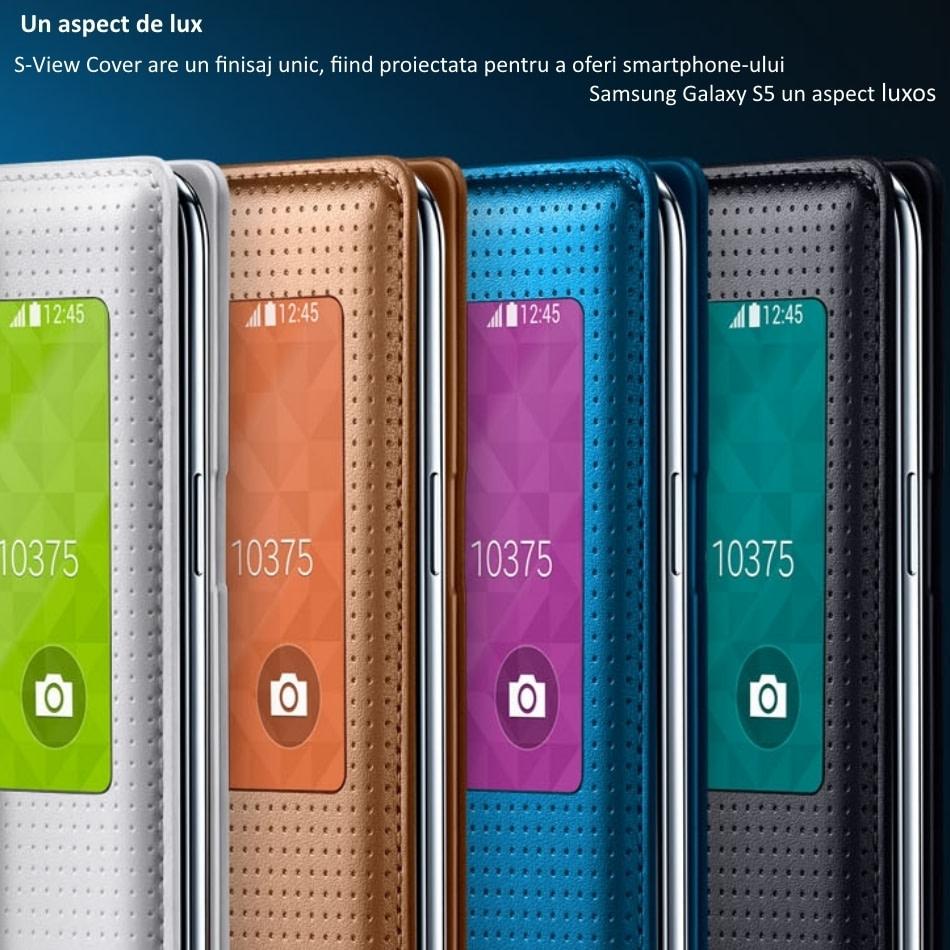 Husa S-View Flip Cover Punching Pattern pentru Samsung Galaxy S5 (G900)